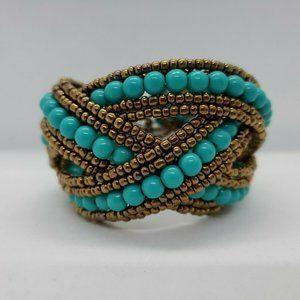 Jewelry - Bronze Tone Twisted Cuff Bracelet Faux Turquoise